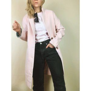 Light Pink Long Length Contrast Cuff Coat